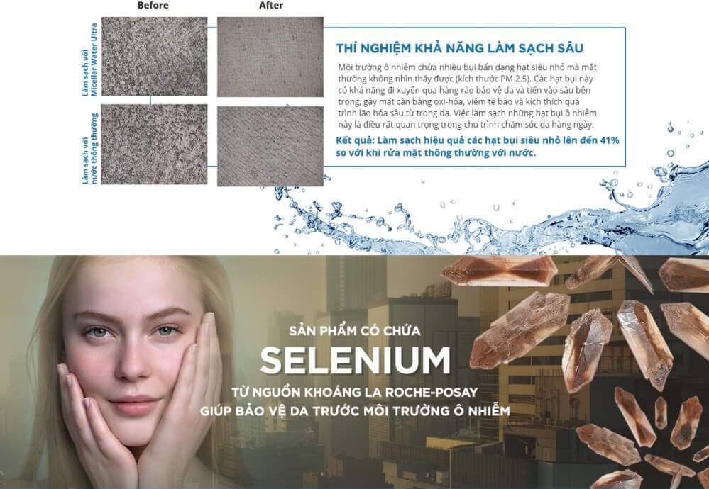 Nước Tẩy Trang La Roche-Posay Micellar Water Ultra Sensitive Skin giàu nước khoáng La Roche-Posay với đặc tính làm dịu da, giảm kích ứng và chống oxi hóa, giúp bảo vệ da trước môi trường ô nhiễm.
