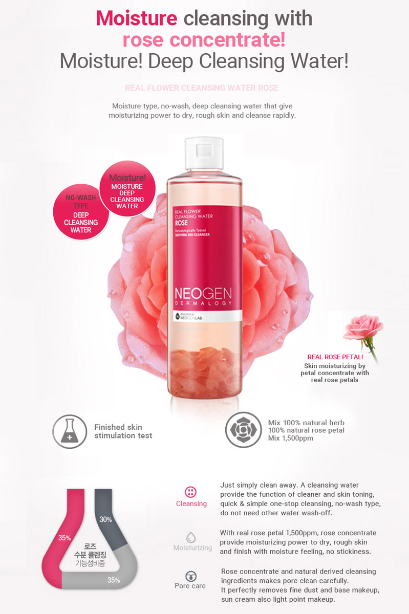 Nước Tẩy Trang Neogen Dermalogy Real Flower Cleansing Water Rose
