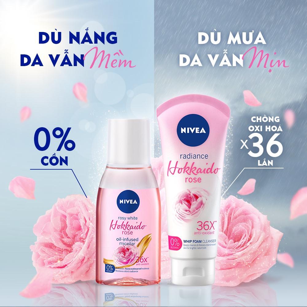 Nước Tẩy Trang Nivea Rosy White Hokkaido Rose Oil-Infused Micellar không chứa cồn, an toàn cho làn da nhạy cảm