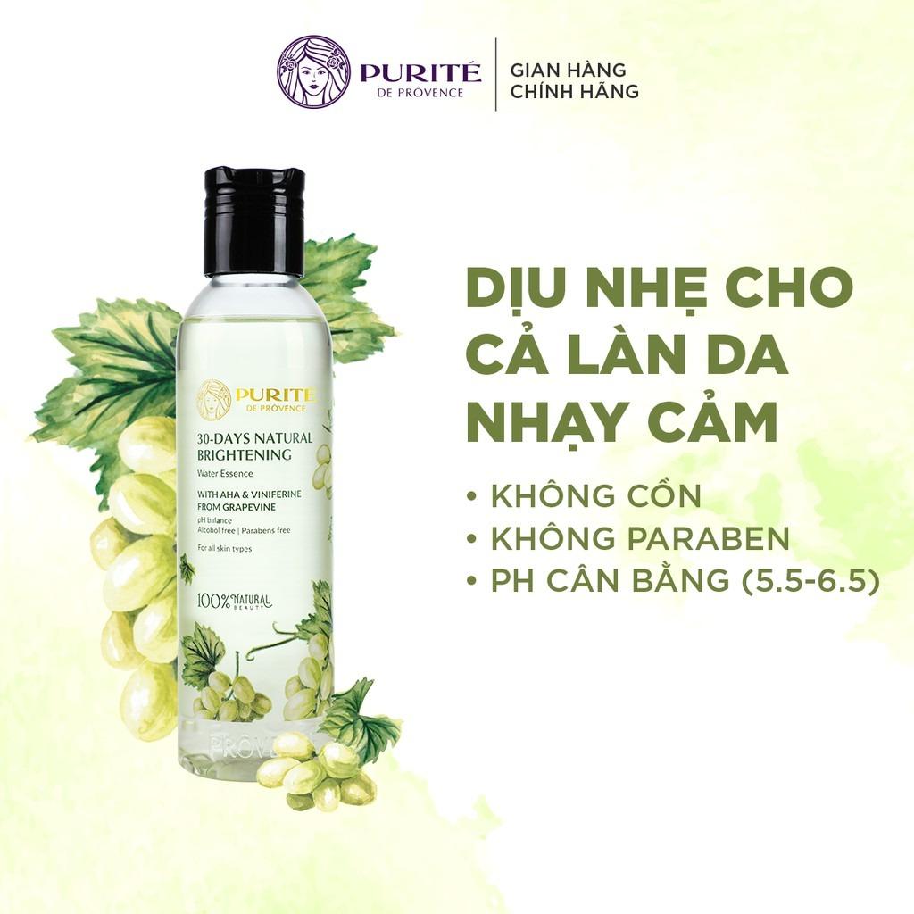 Nước Thần Purité 30-days Natural Brightening Water Essence không cồn, không paraben, pH cân bằng, an toàn cho mọi loại da.