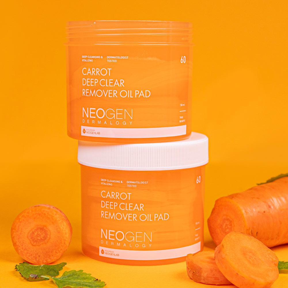 Pad Dầu Tẩy Trang Neogen Dermalogy Carrot Deep Clear Oil Pad 150ml (60 Pads)
