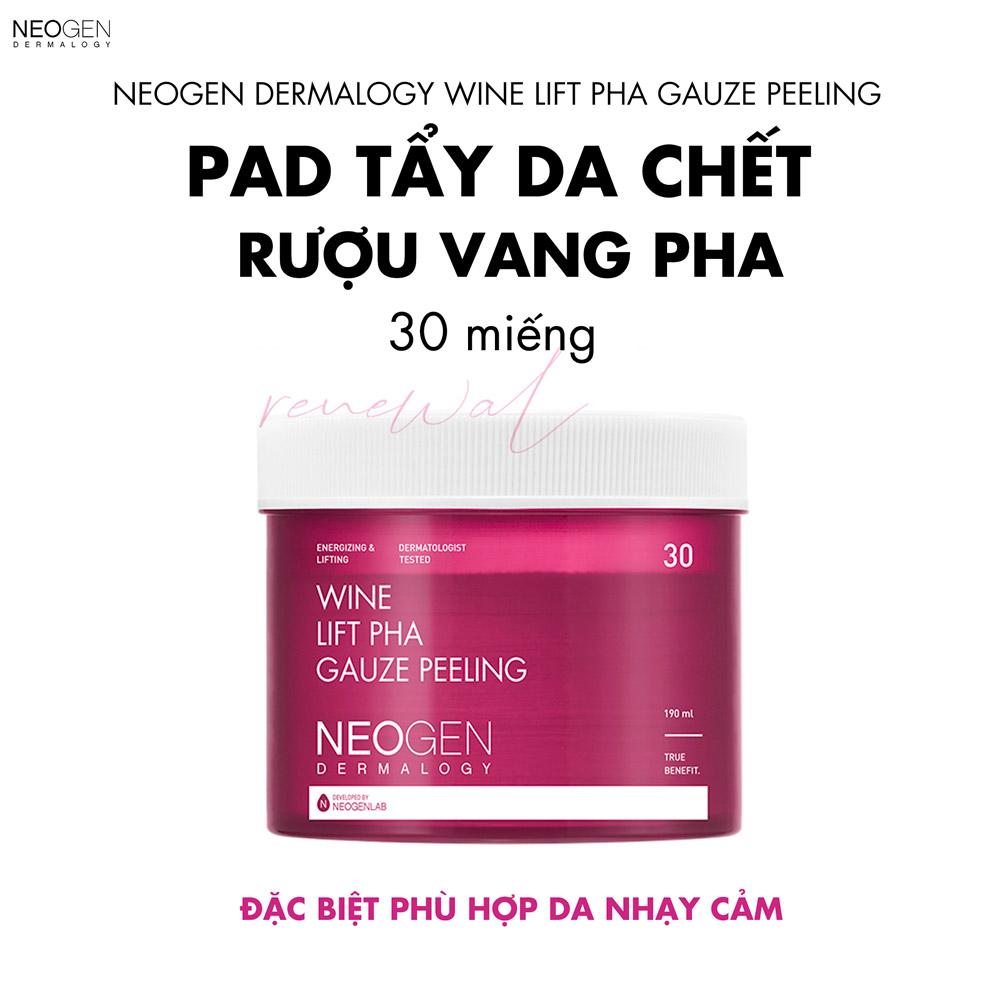 Pad Tẩy Da Chết Rượu Vang Neogen Dermalogy Wine Lift PHA Gauze Peeling 30 Miếng