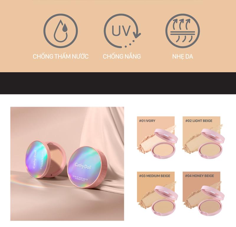 Phấn Phủ Cathy Doll Skin Fit Nude Matte Powder Pact SPF30 PA+++ hiện đã có mặt tại Hasaki với 2 tông màu cho bạn lựa chọn