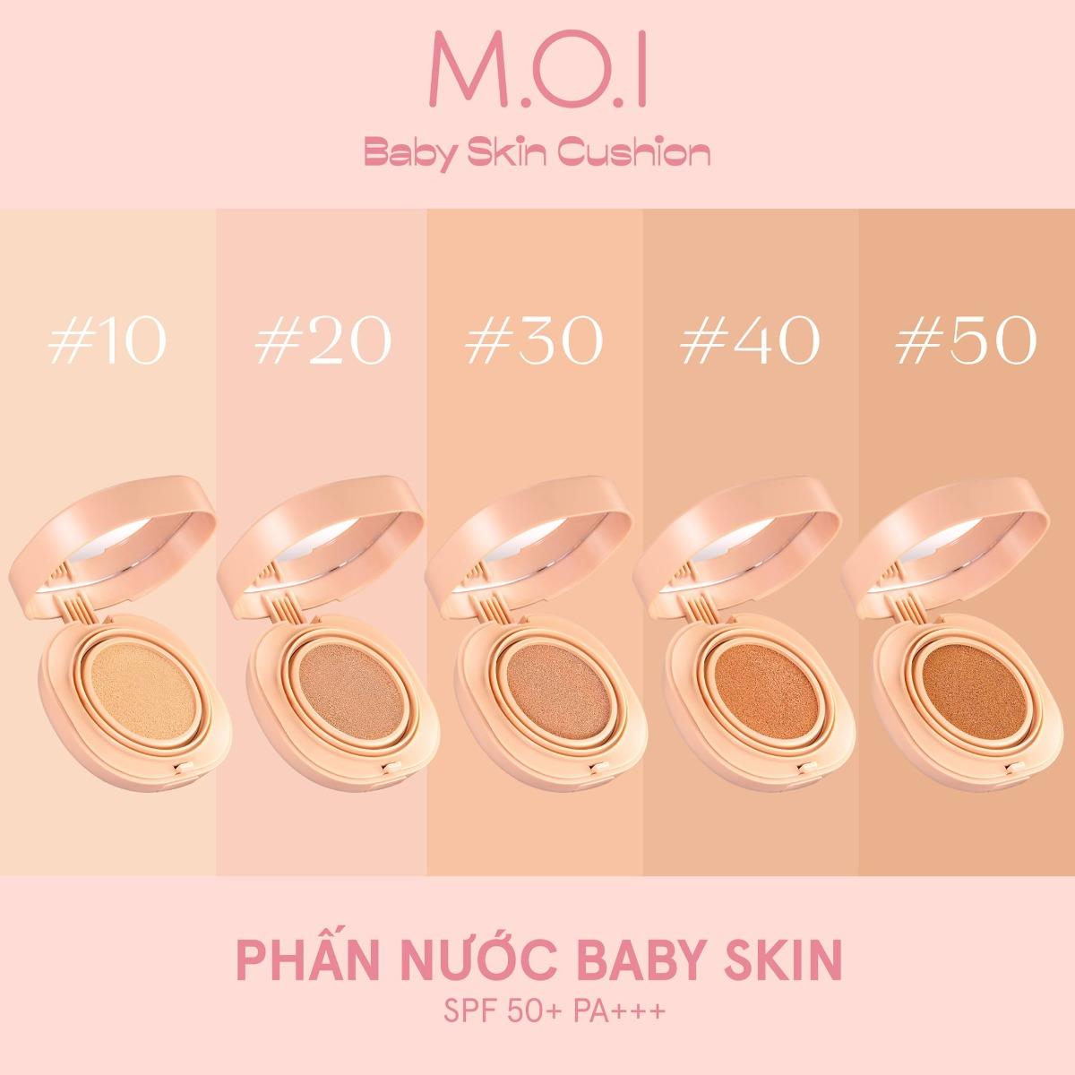 Phấn Nước M.O.I Baby Skin Cushion có 5 tông màu từ ngăm đến sáng hợp với làn da của phụ nữ Á đông.