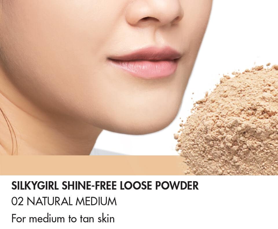 Phấn Phủ SILKYGIRL Shine-free Loose Powder 02 Natural Medium Tông Trung Bình