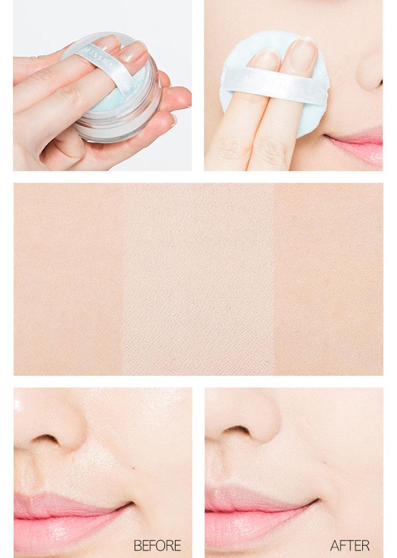 Phấn Phủ Dạng Bột Missha Sebum Cut Powder đem lại lớp trang điểm tự nhiên.