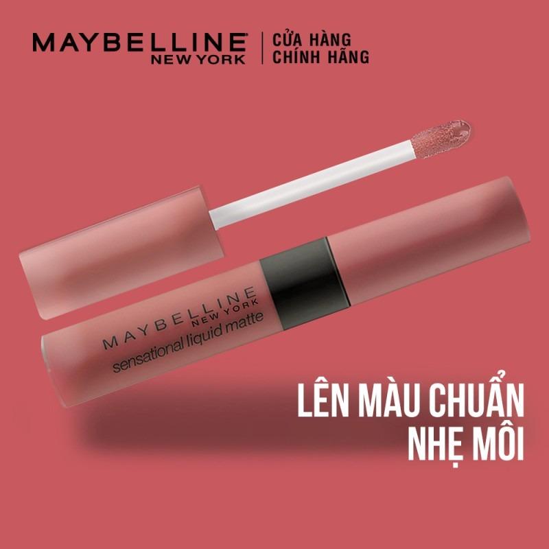 Son Kem Lì Maybelline Sensational Liquid Matte Lipstick lên màu chuẩn chỉ sau một lần lướt, cho cảm giác siêu nhẹ môi