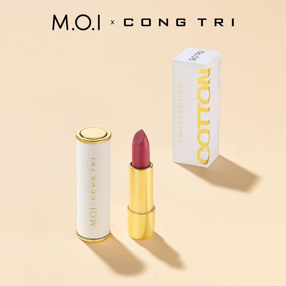 Son Thỏi M.O.I x CONG TRI thiết kế vỏ ngoài làm bằng chất liệu da, khiến visual thỏi son được nâng cấp, trở nên sang chảnh, quý phái hơn vài lần.