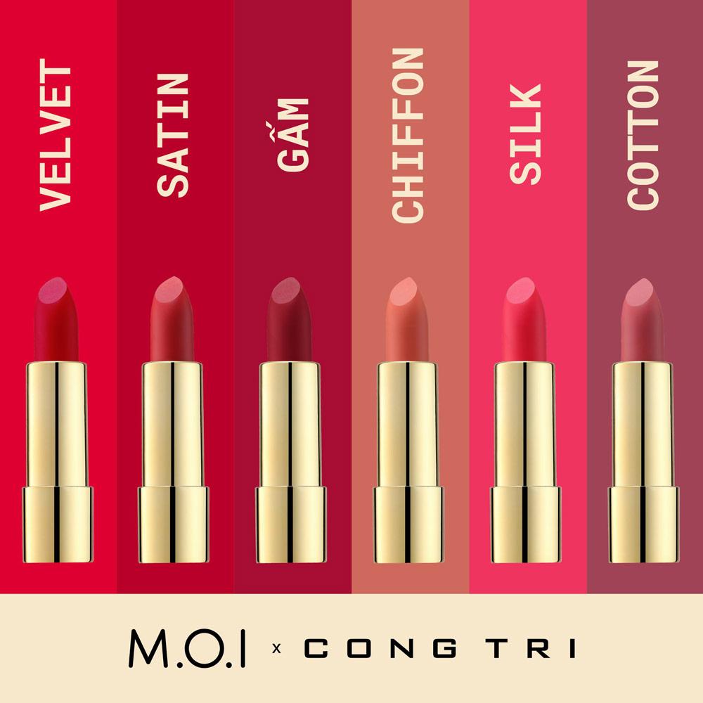 Bộ Sưu Tập Son Thỏi M.O.I x CONG TRI bao gồm 6 màu son thời thượng, tôn da