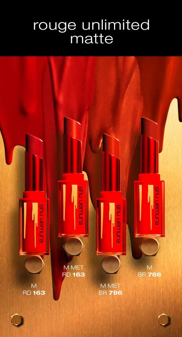 Son Lì Lâu Trôi Shu Uemura Iron Reds Rouge Unlimited Matte Lipstick 3g