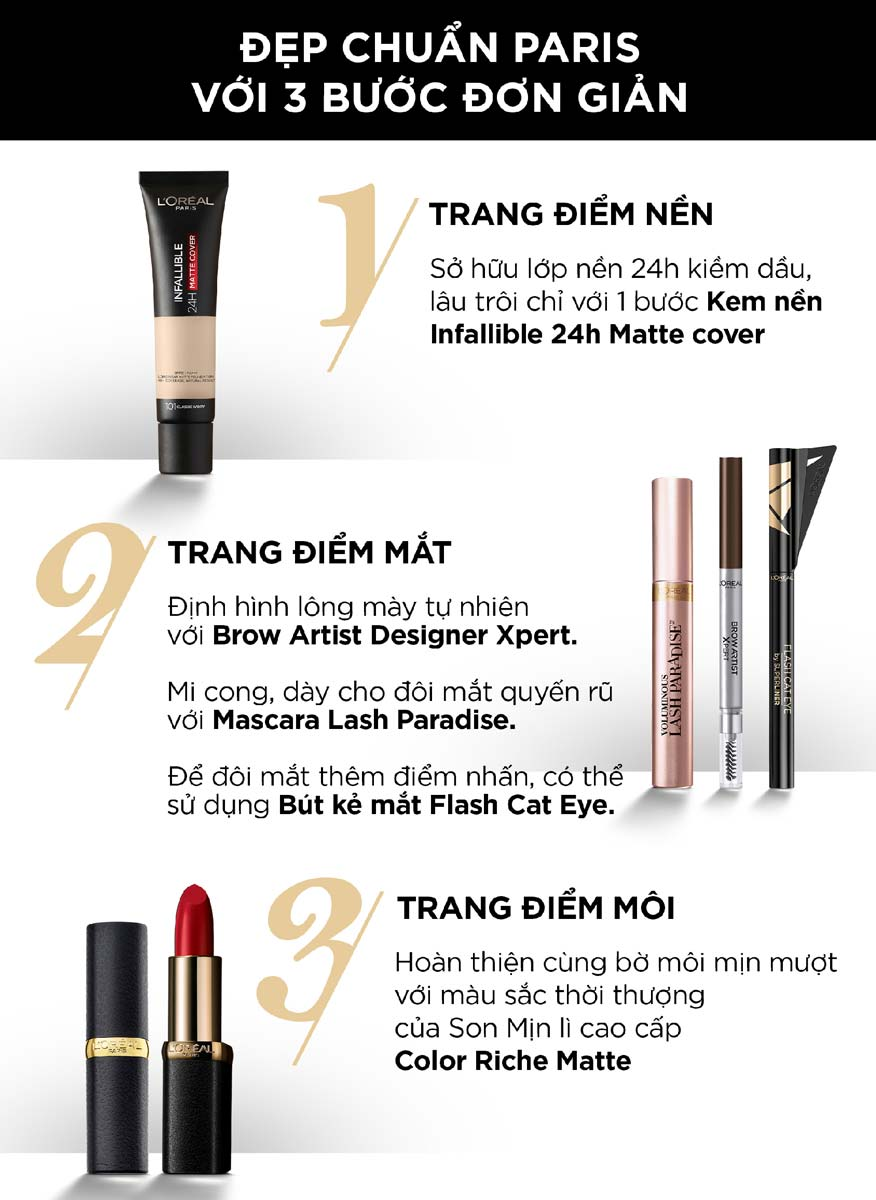 3 bước trang điểm với Son Mịn Lì Cao Cấp L'Oréal Paris Color Riche Matte