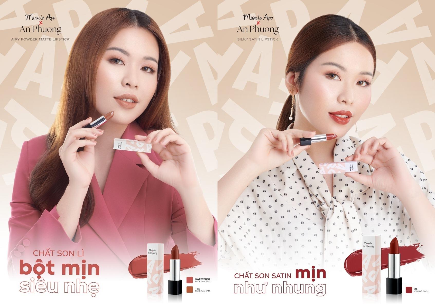 Chất son thời thượng của Son Thỏi Miracle Apo x An Phương Holiday Collection Lipstick
