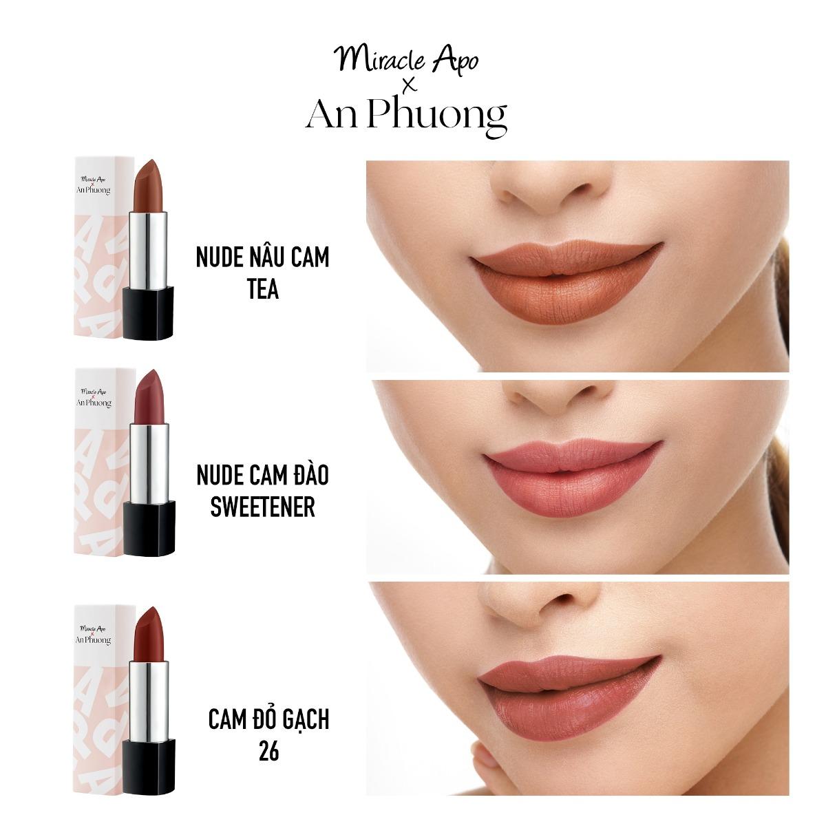 Son Thỏi Miracle Apo x An Phương Holiday Collection Lipstick bao gồm 3 tone màu