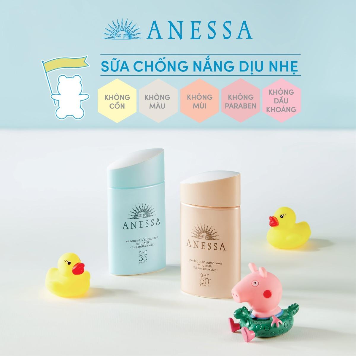 Sữa Chống Nắng Dành Cho Da Nhạy Cảm & Trẻ Em Anessa từ thương hiệu bán chạy số 1 Nhật Bản 18 năm liền