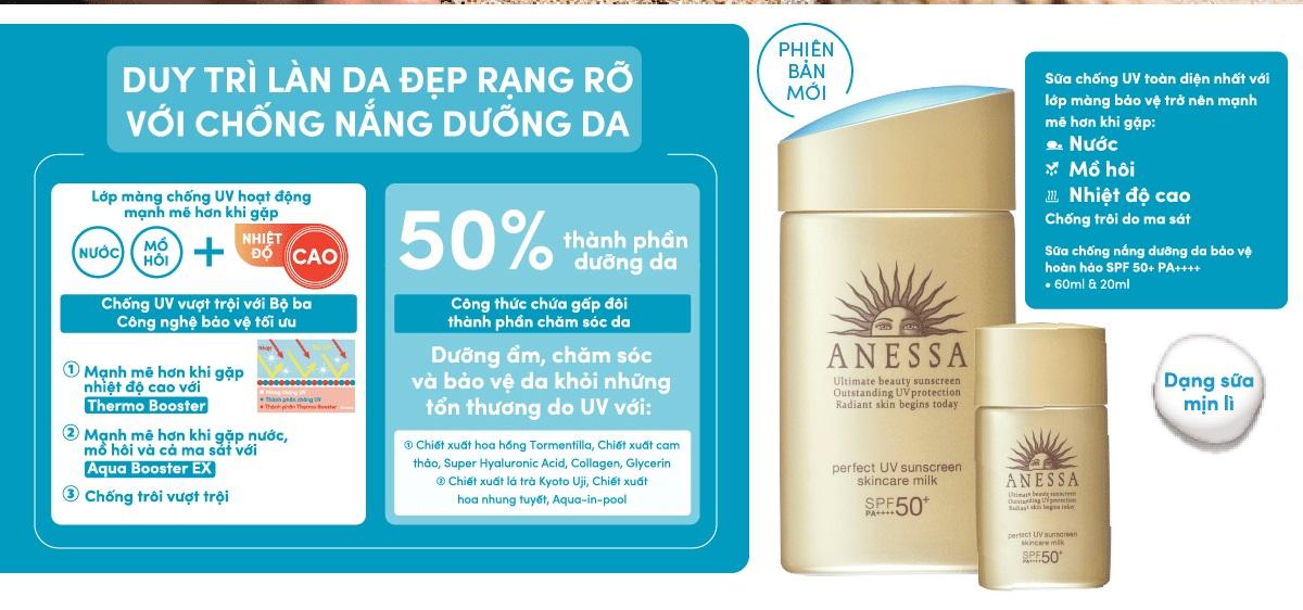 Sữa Chống Nắng Dưỡng Da Bảo Vệ Hoàn Hảo Anessa Perfect UV Sunscreen Skincare Milk SPF50+/PA++++