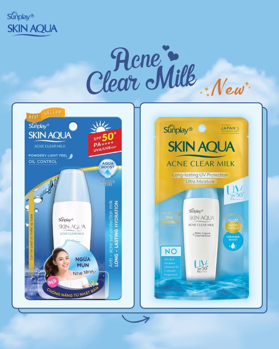 Sữa Chống Nắng Sunplay Skin Aqua Acne Clear Milk SPF50+ PA++++ công thức cải tiến mới năm 2021