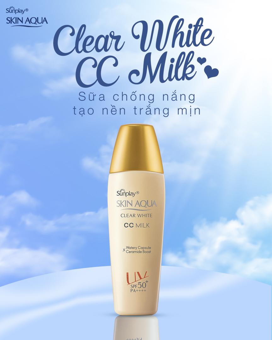 Sữa Chống Nắng Tạo Nền Sáng Mịn Sunplay Skin Aqua Clear White CC Milk SPF50+ PA++++ 25g