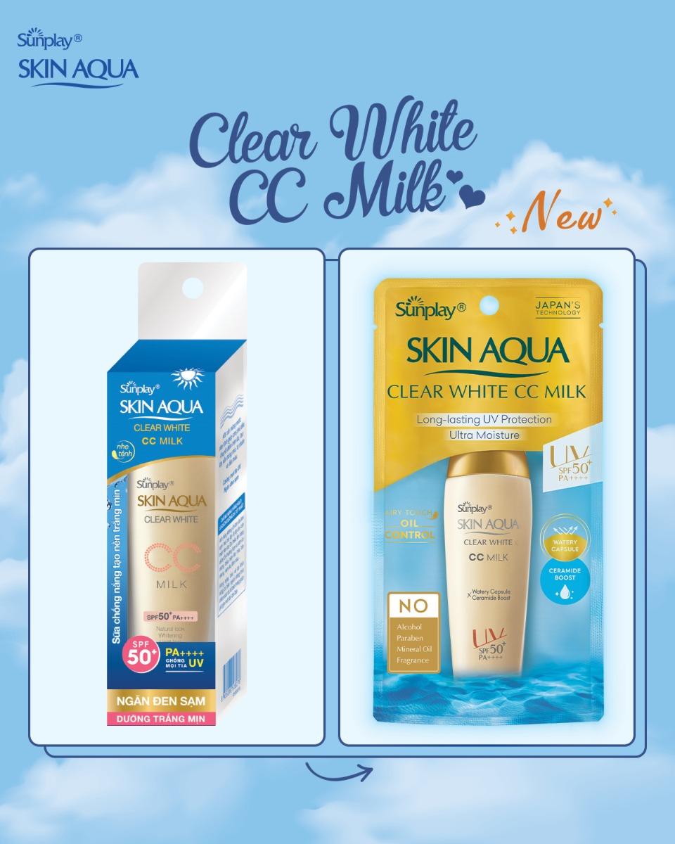 Sữa Chống Nắng Tạo Nền Sáng Mịn Sunplay Skin Aqua Clear White CC Milk SPF50+ PA++++ 25g Mới hiện đã có mặt tại Hasaki.