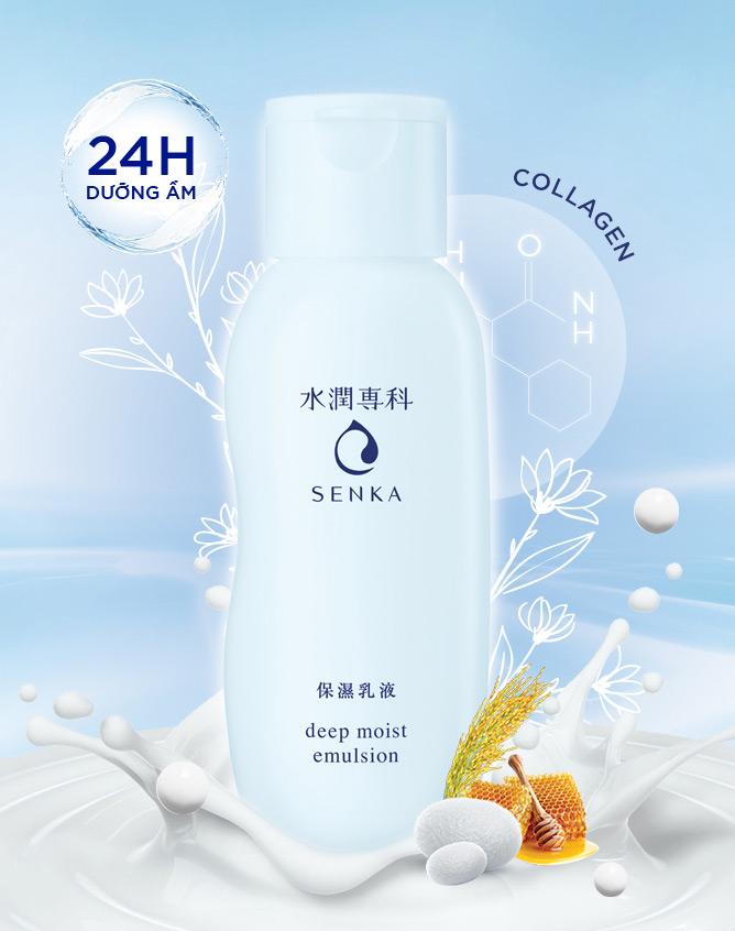 Sữa Dưỡng Cấp Ẩm Chuyên Sâu Cho Da Senka Deep Moist Emulsion
