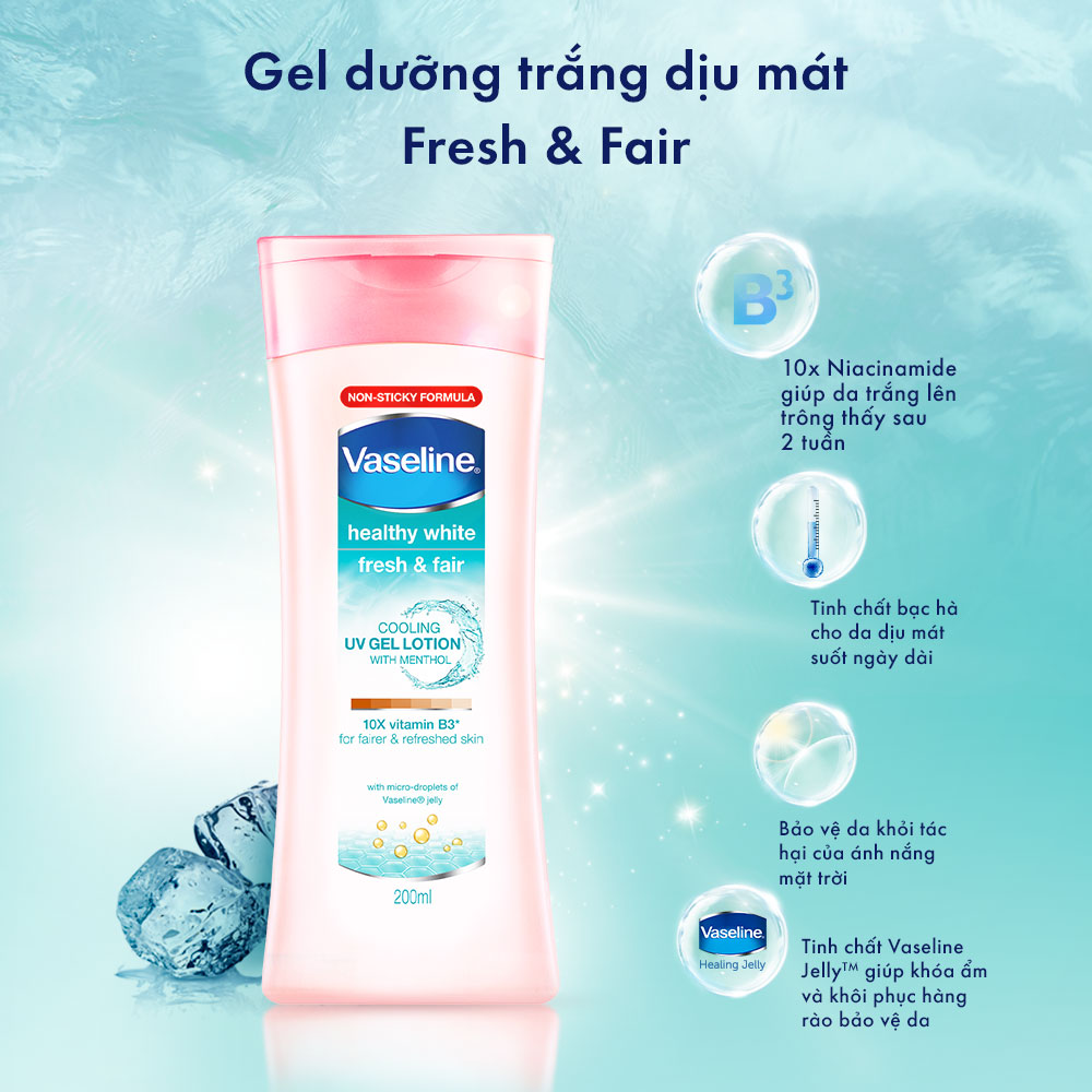 Sữa Dưỡng Thể Vaseline Fresh & Fair dưỡng da sáng mịn, làm đều màu da