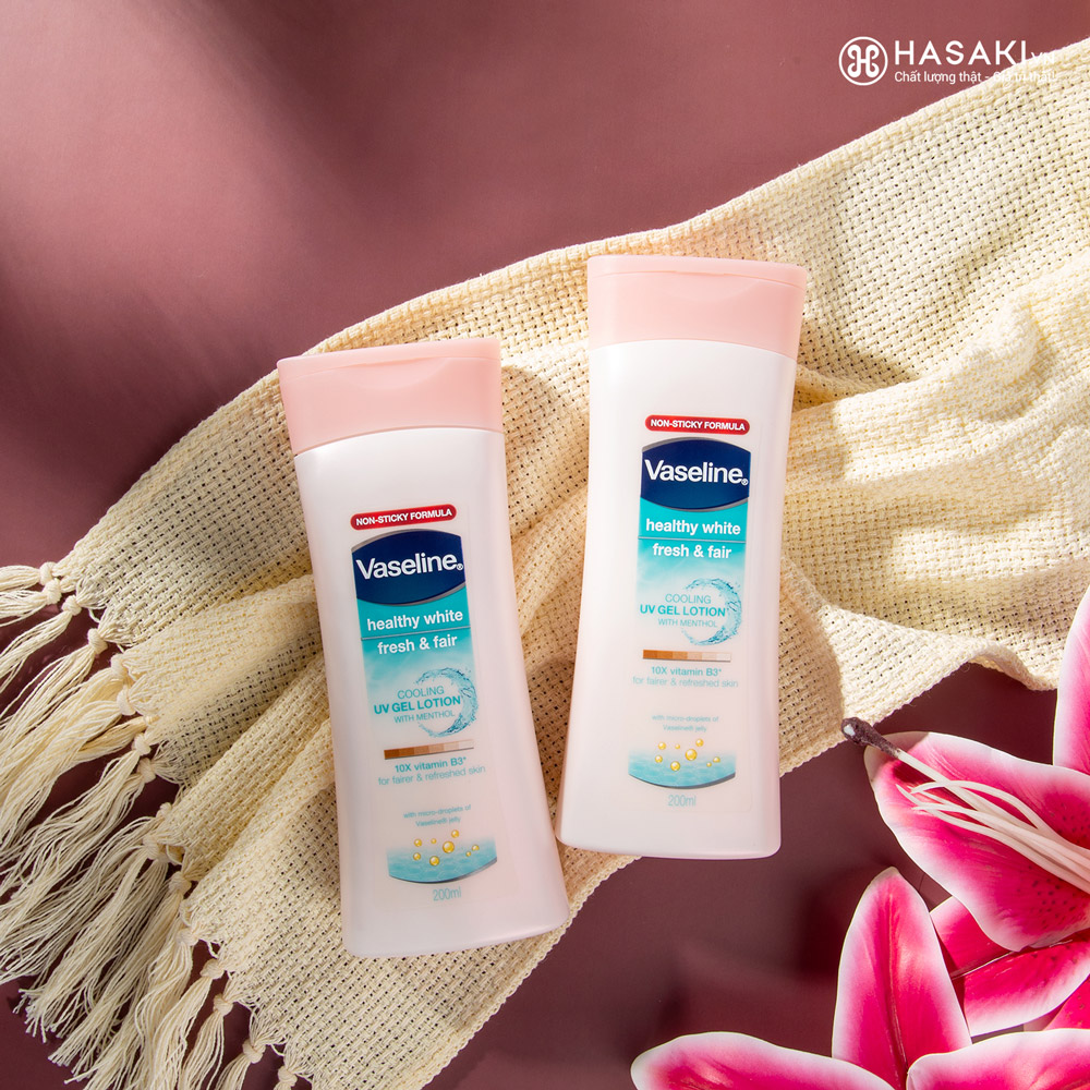 Sữa Dưỡng Thể Vaseline Dịu Mát Sáng Da Healthy White Fresh & Fair Cooling UV Gel Lotion 200ml