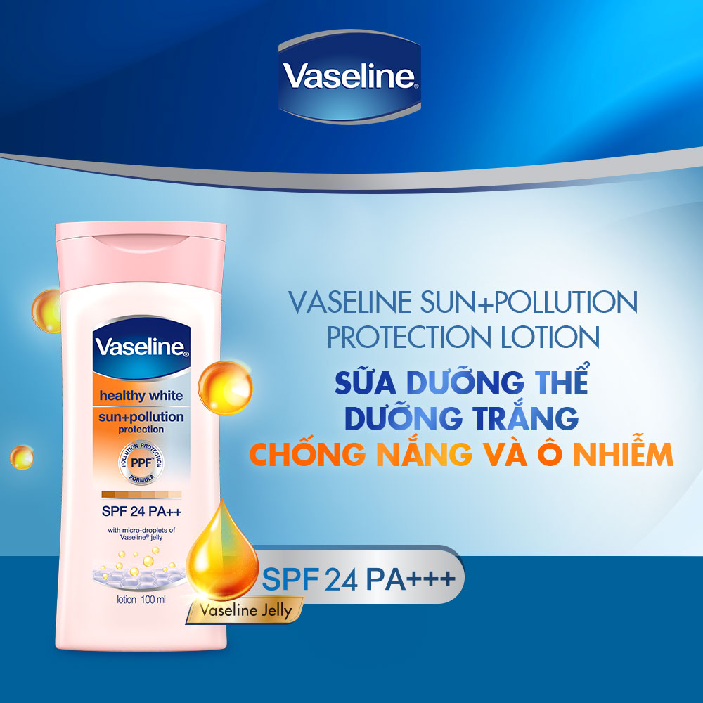 Sữa Dưỡng Thể Sáng Da, Chống Nắng & Ngừa Ô Nhiễm Vaseline Healthy White Sun + Pollution Protection Lotion SPF24 PA++