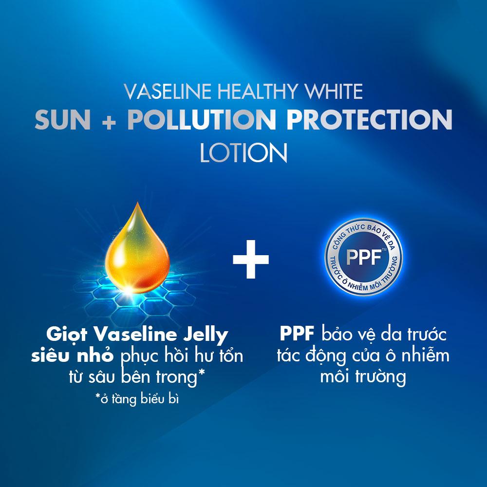 Sữa Dưỡng Thể Sáng Da, Chống Nắng & Ngừa Ô Nhiễm Vaseline Healthy White Sun + Pollution Protection Lotion SPF24 PA++ 200ml