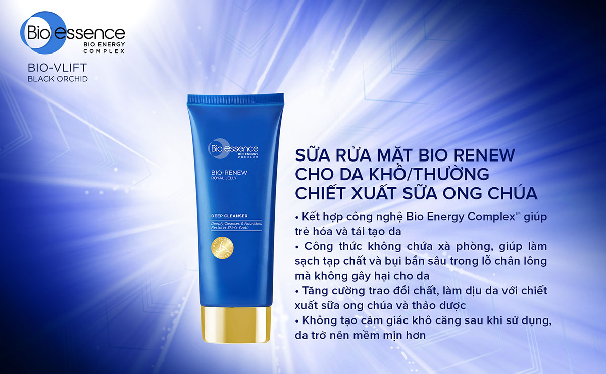 Sữa Rửa Mặt Bio-essence Dưỡng Da Tươi Trẻ Dành Cho Da Khô 100g | Hasaki.vn
