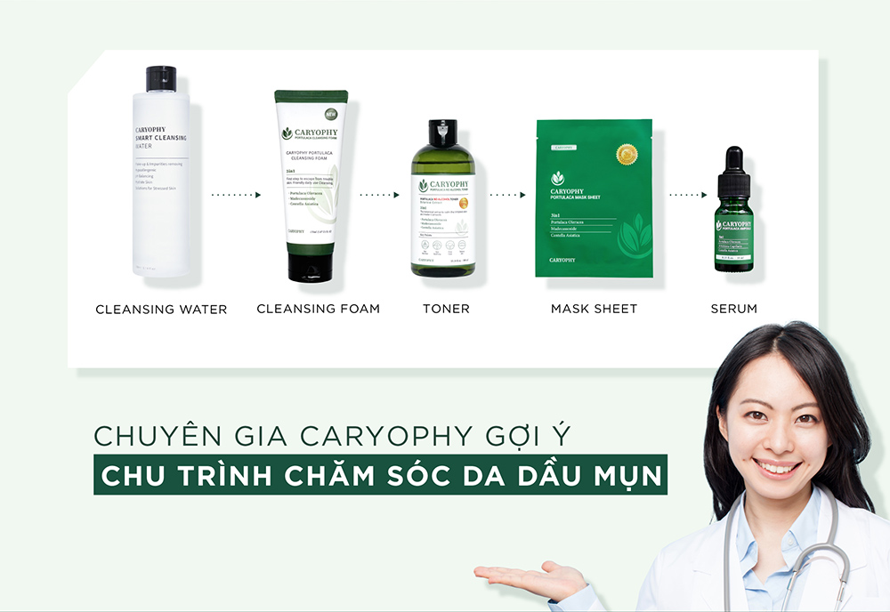 Chu trình chăm sóc da dầu mụn với Sữa Rửa Mặt Caryophy Portulaca Cleansing Foam
