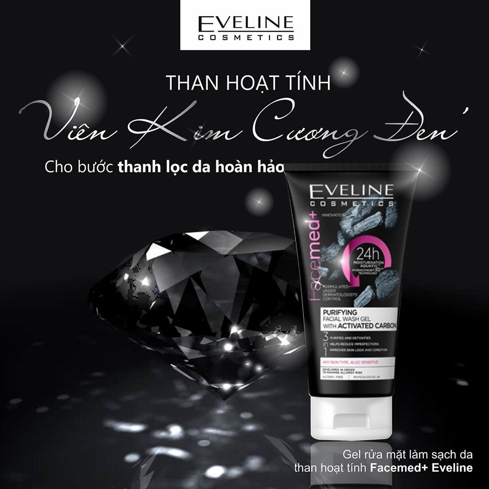 Gel Rửa Mặt Eveline Purifying Facial Wash Gel With Activated Carbon dành cho mọi loại da