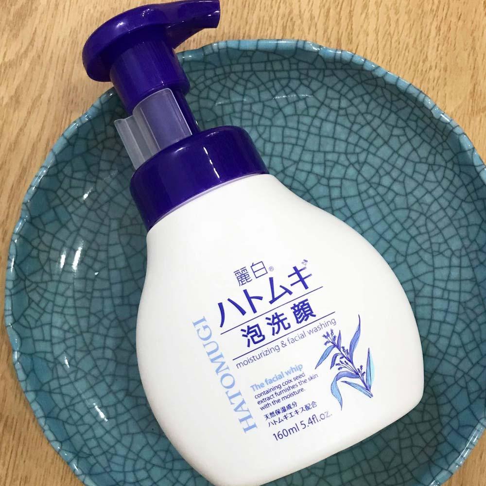 Sữa Rửa Mặt HATOMUGI The Facial Whip Ý Dĩ Tạo Bọt Dưỡng Ẩm, Sáng Da 160ml