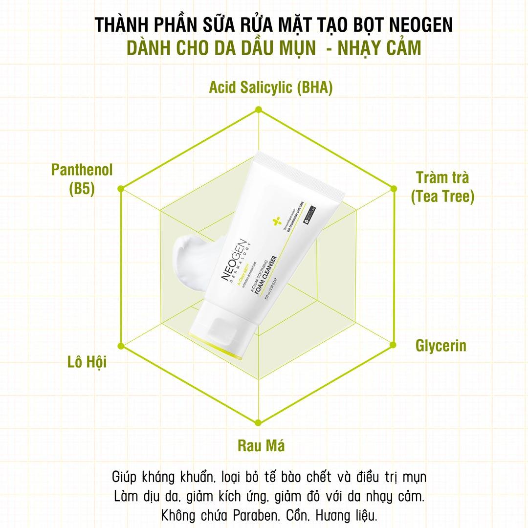 Sữa Rửa Mặt Neogen Dermalogy A-Clear Aid Soothing Foam Cleanser giúp làm sạch da và giảm mụn