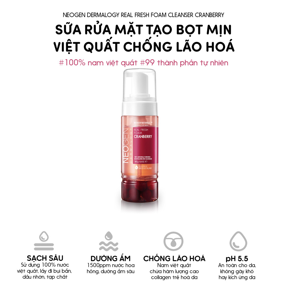 Sữa Rửa Mặt Tạo Bọt Neogen Dermalogy Real Fresh Foam Cleanser Cranberry chiết xuất Nam Việt Quất