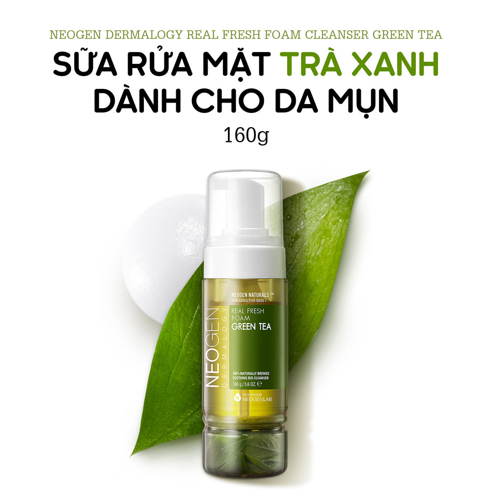 Sữa Rửa Mặt Neogen Dermalogy Real Fresh Foam Cleanser Green Tea chiết xuất Trà Xanh