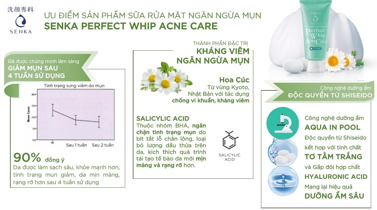 Sữa Rửa Mặt Dành Cho Da Mụn Senka Perfect Whip Acne Care - cochiskin.com