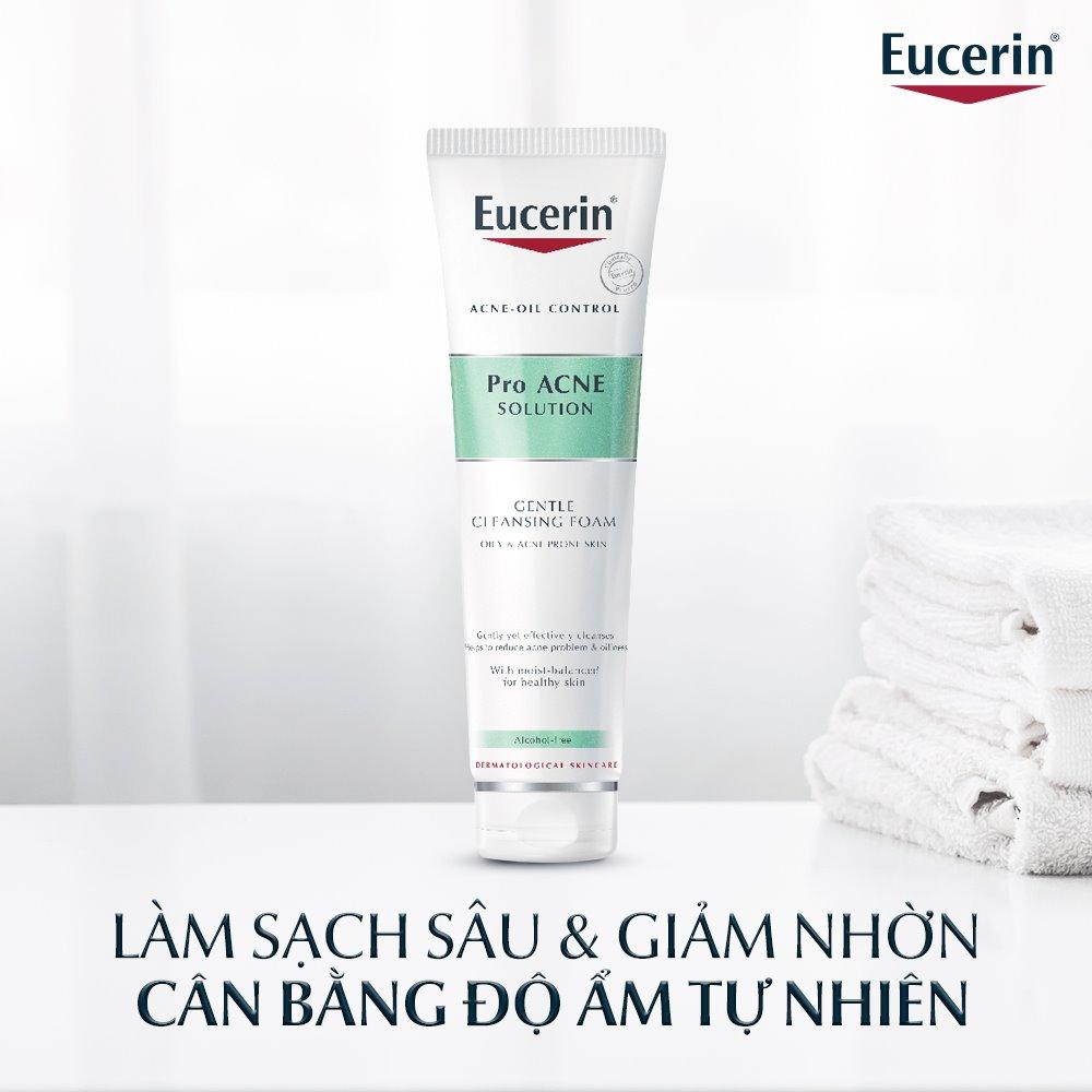 Sữa Rửa Mặt Eucerin Pro Acne Solution Gentle Cleansing Foam Tạo Bọt Làm Sạch Sâu Cho Da Mụn