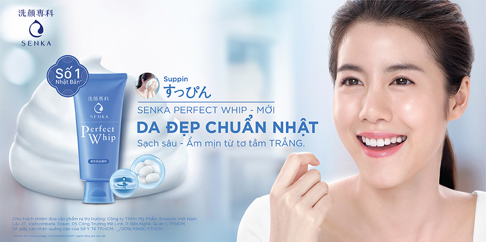 Sữa Rửa Mặt Senka Tạo Bọt Chiết Xuất Tơ Tằm Trắng Perfect Whip Facial Foam Wash 120g