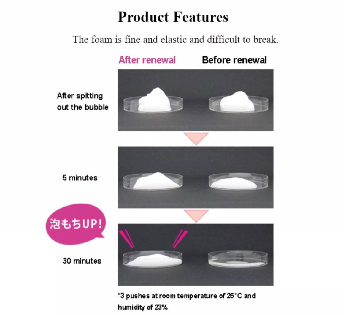 Sữa Rửa Mặt Tẩy Trang Chifure Foaming Face Wash có khả năng tạo lớp bọt mịn đàn hồi êm ái, giúp làm giảm lực ma sát giữa tay và da.