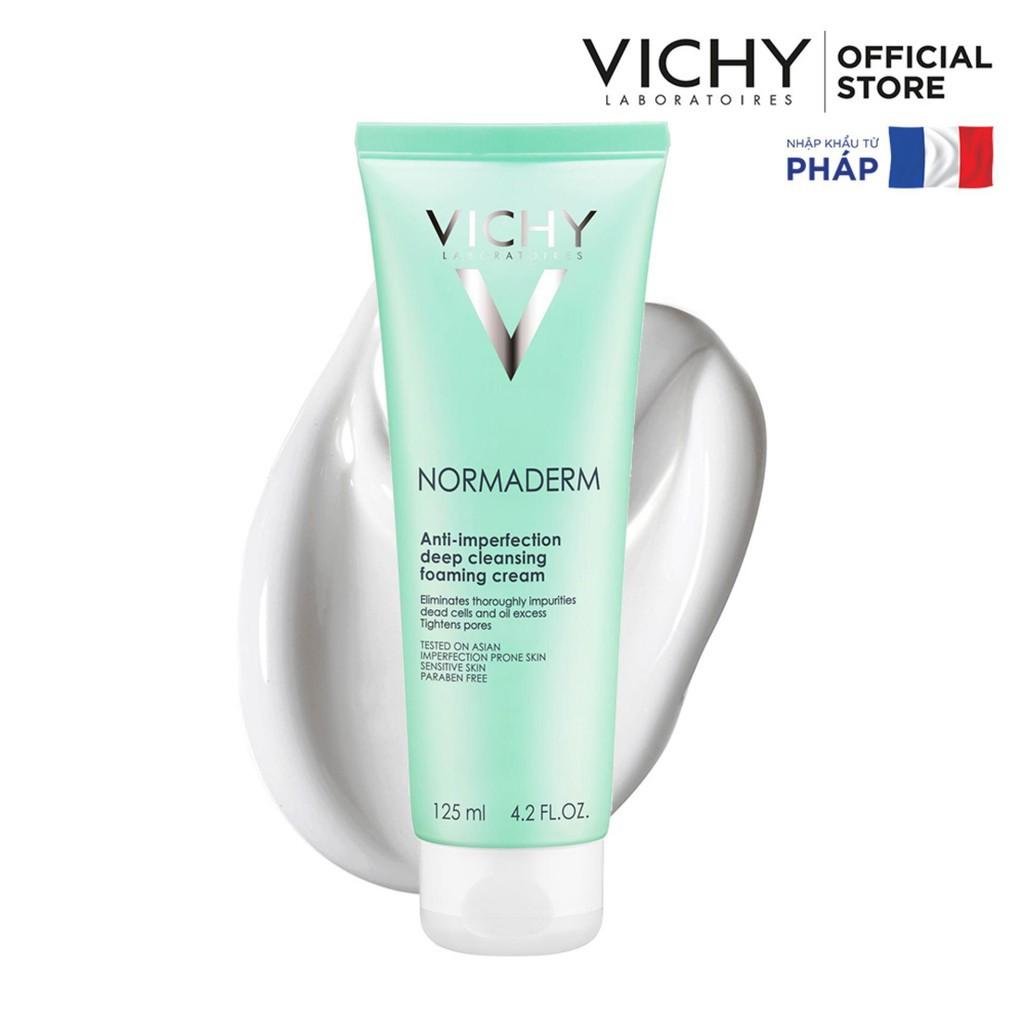 Sữa Rửa Mặt Vichy Tạo Bọt Ngừa Mụn & Làm Sạch Sâu Normaderm Anti-imperfection Deep Cleansing Foaming Cream