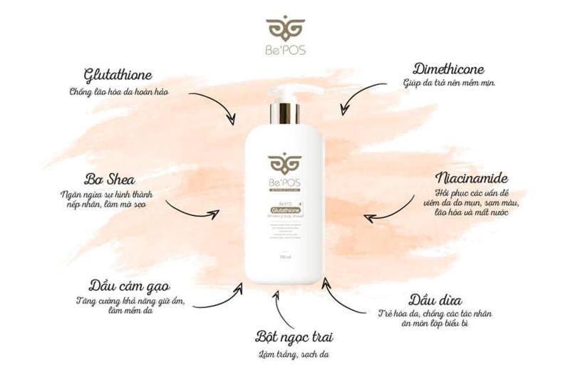 Sữa Tắm Làm Sáng Bật Tone Da Toàn Thân Be'POS Glutathione Tone Up Body Shower 300ml