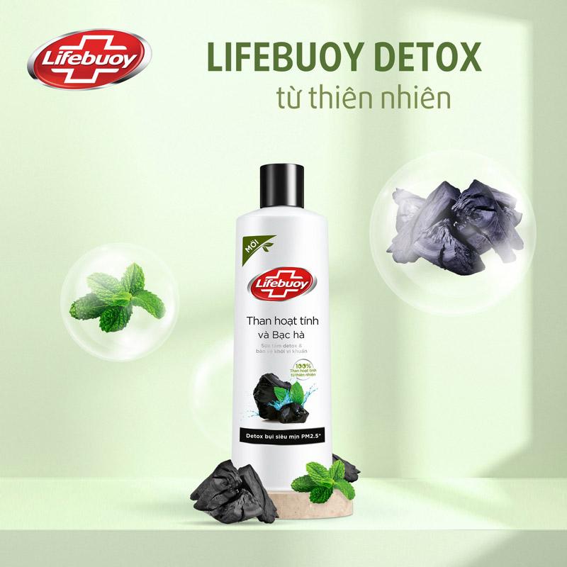 Sữa Tắm Lifebuoy Detox Và Bảo Vệ Khỏi Vi Khuẩn Than Hoạt Tính & Bạc Hà