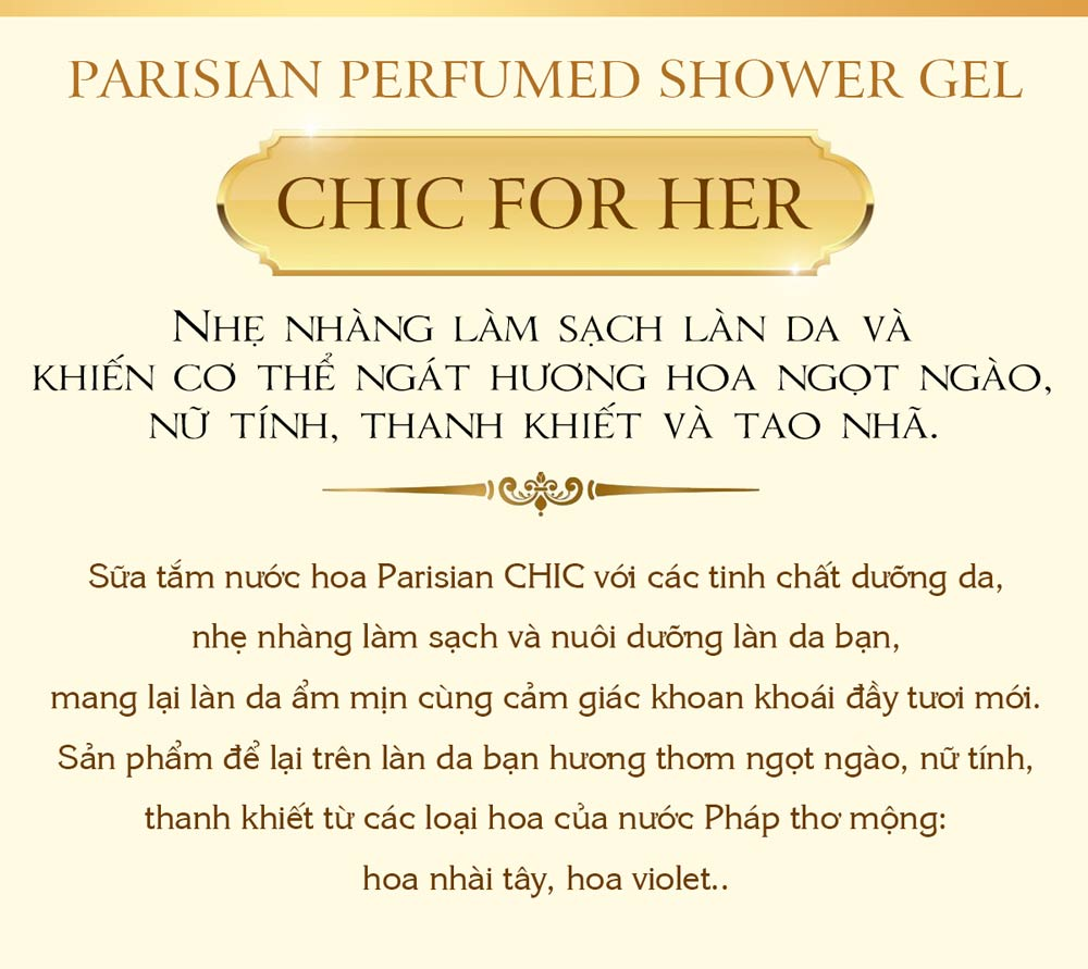 Sữa Tắm Nước Hoa Nữ Parisian CHIC For Her 265ml