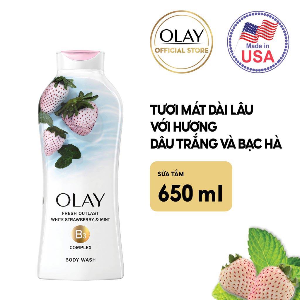Sữa Tắm Olay Fresh Outlast White Strawberry & Mint Body Wash hương Dâu Trắng và Bạc Hà ngọt ngào, năng động