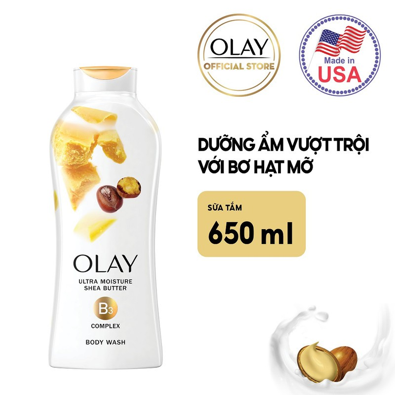 Sữa Tắm Olay Ultra Moisture Shea Butter Body Wash dưỡng ẩm vượt trội với Bơ Hạt Mỡ