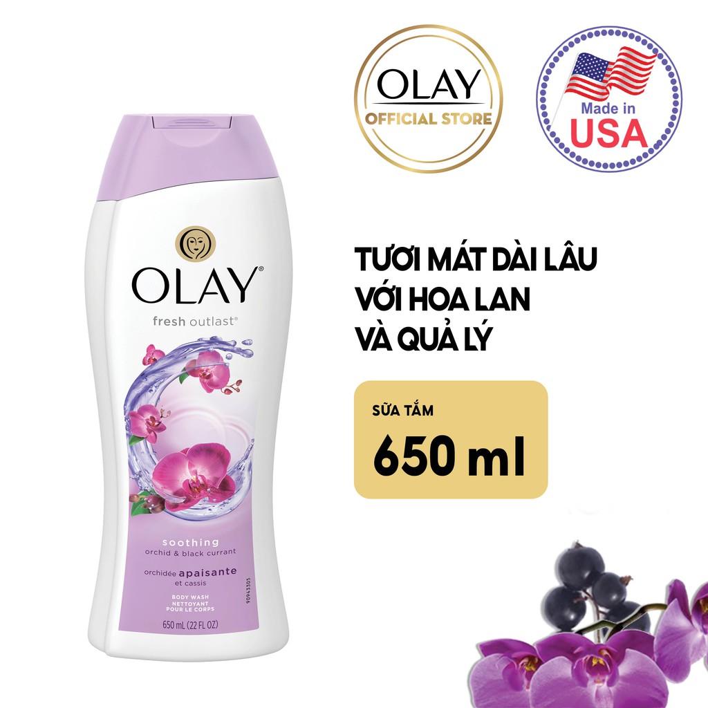 Sữa Tắm Olay Soothing Orchid & Black Currant Body Wash cho cảm giác tươi mát dài lâu
