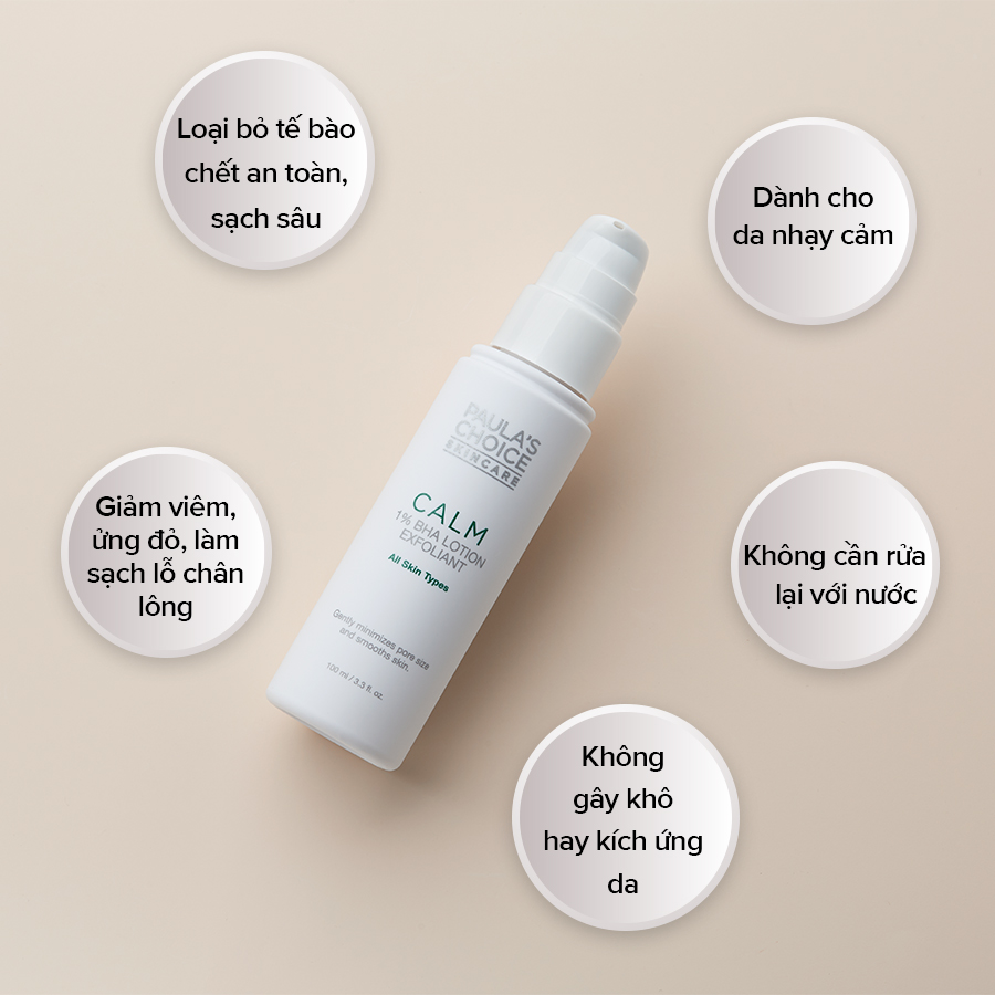 Tẩy Tế Bào Chết Paula's Choice Calm Redness Relief 1% BHA Lotion Exfoliant