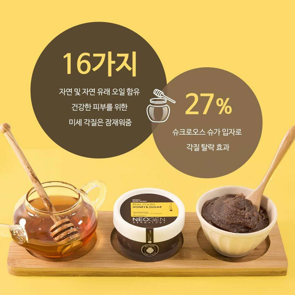 Tẩy Tế Bào Chết Neogen Dermalogy Real Polish Honey & Sugar với thành phần chính là đường nâu, keo ong và dầu thiên nhiên giúp cấp nước, nuôi dưỡng, làm sáng và trả lại sức sống cho làn da.