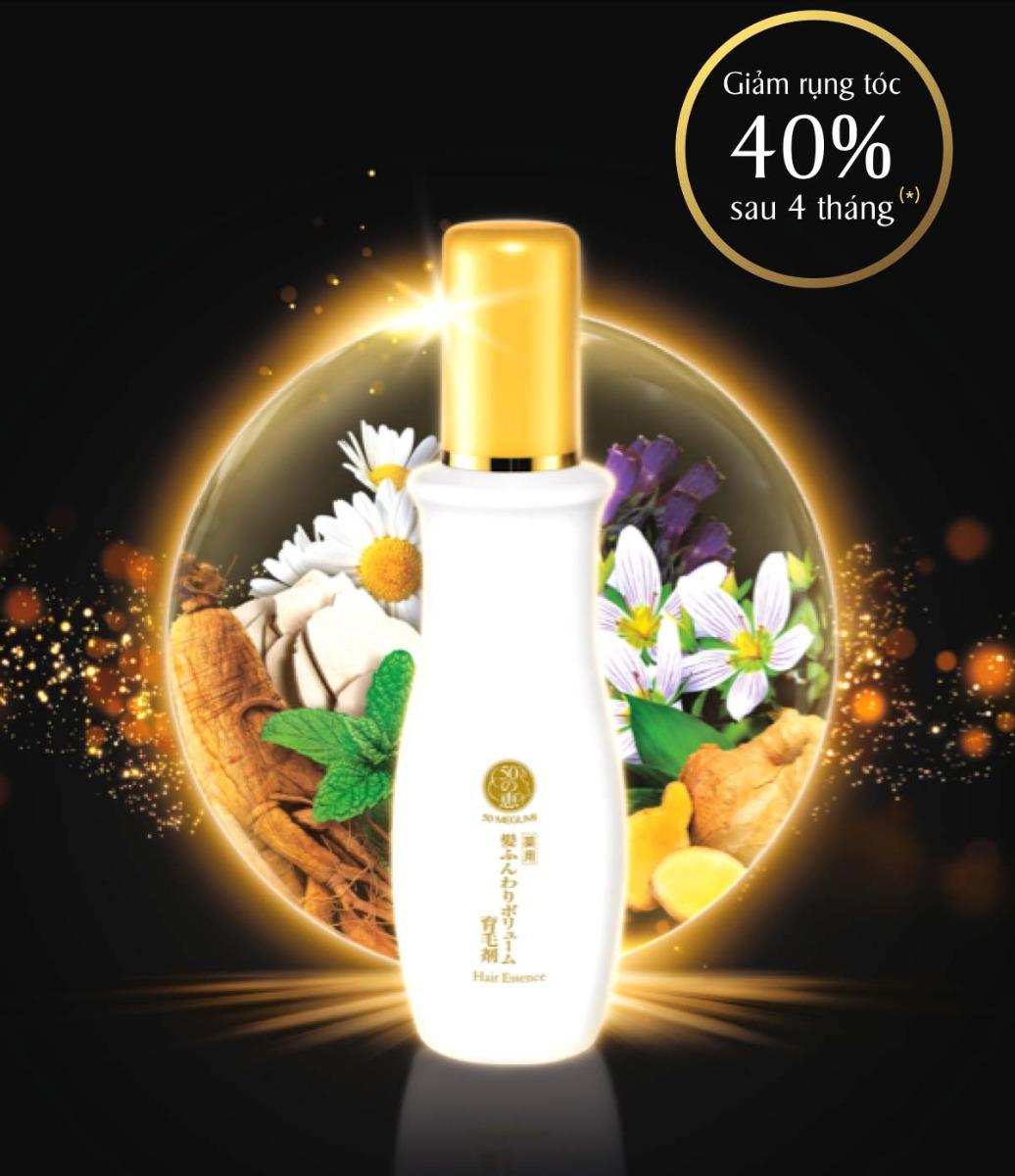Tinh Chất 50 Megumi Hair Essence giúp tóc khỏe và giảm rụng 40% chỉ sau 4 tháng.