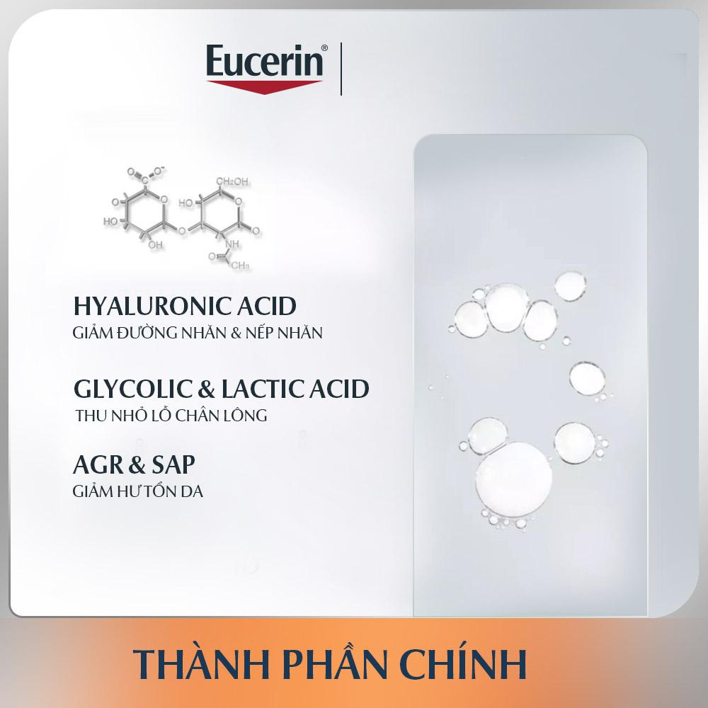 Tinh Chất Eucerin Hyaluron Filler Advanced AOX Essence giúp cấp ẩm và cải thiện 4 dấu hiệu lão hóa sớm: nếp nhăn nhỏ, nếp nhăn sâu, da thô ráp lỗ chân lông to, các vấn để về da do tác nhân gây lão hóa gây ra.