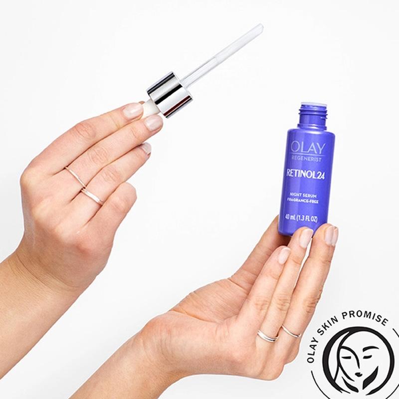 Tinh Chất Olay Regenerist Retinol 24 Night Serum Fragrance-Free thẩm thấu nhanh và sâu vào các lớp biểu bì da, thích hợp sử dụng hàng ngày mà không làm khô da.